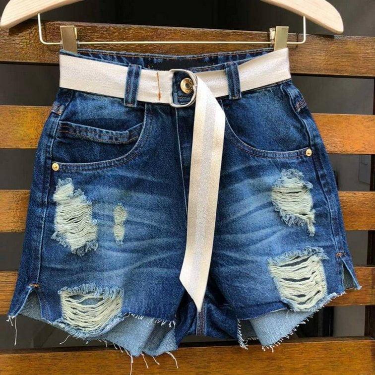 Short Jeans Cintinho Fita