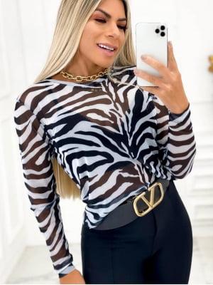Blusa Manga Longa Tule Zebra