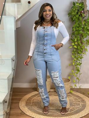 Jardineira Jeans Buttons