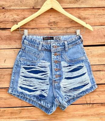 Short Jeans Destroyed Botões