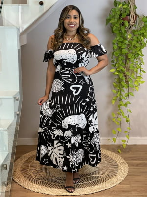 Vestido Midi Estampa Tropical